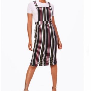 Boohoo stripe pinafore midi dress NWT
